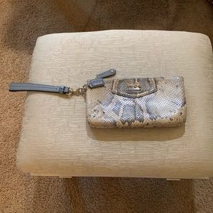 Coach leather snakeskin clutch